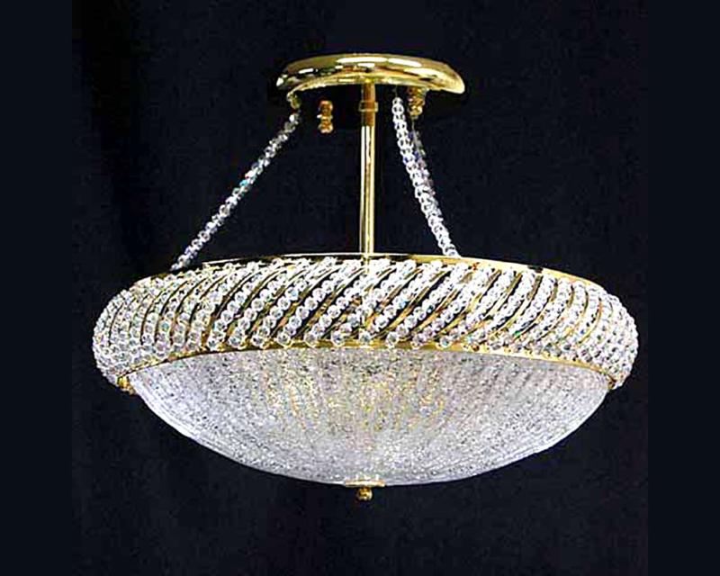 ゴールドのクリスタルシーリングランプ