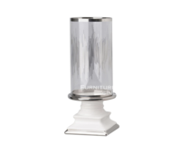 ガラスと白陶器のキャンドルホルダー