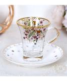 小花柄のガラスと磁器のカップ&ソーサー