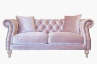 ピンクのスウェード生地のオリジナルチェスターフィールドソファ